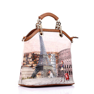 Printed handbag   tote 3 pcs Paris 8 PRINTS!