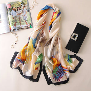 Silk Scarf Parrots white