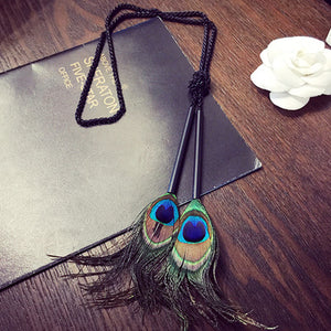 Leather Pendant Black Long Tassel  Necklace for Women Dress