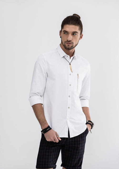 Zipper Pocket Long Sleeve Shirt - White