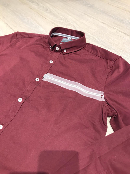 Zipper Grosgrain Long Sleeve Shirt - Red