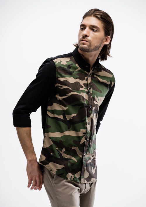 Camo Facade Long Sleeve Shirt - Black