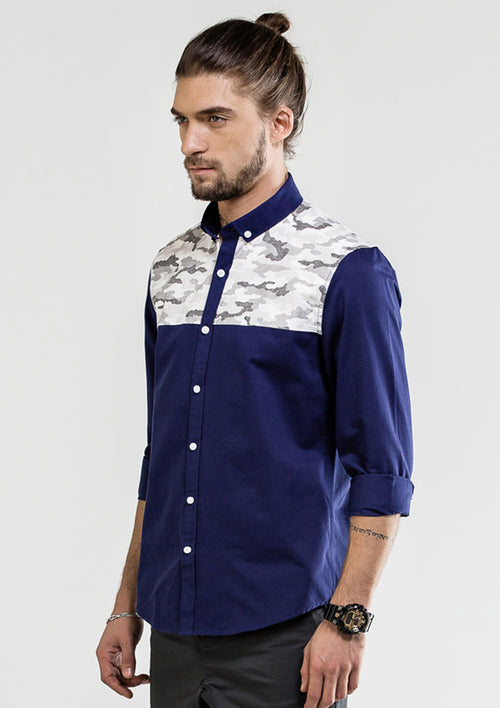 Camouflage Patchwork Oxford Long Sleeve Shirt - Navy