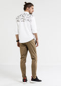 Camouflage Patchwork Oxford Long Sleeve Shirt - White
