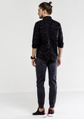 Camouflage Self-Patterned Long Sleeve Shirt - Black