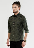 Camouflage Self-Patterned Long Sleeve Shirt - Green