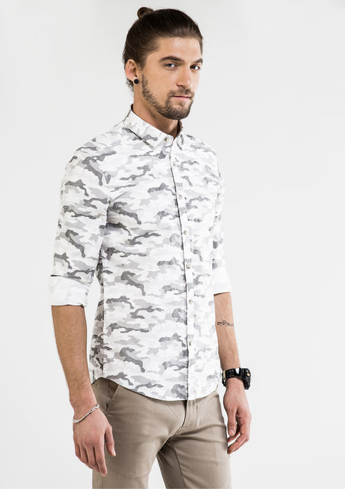 Camouflage Self-Patterned Long Sleeve Shirt - White
