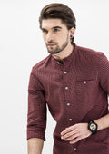 Checkered Mandarin Collar Long Sleeve Shirt - Red