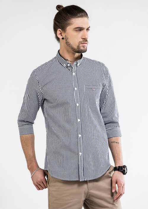 Classic 3 Quarter Checkered Shirt - Navy