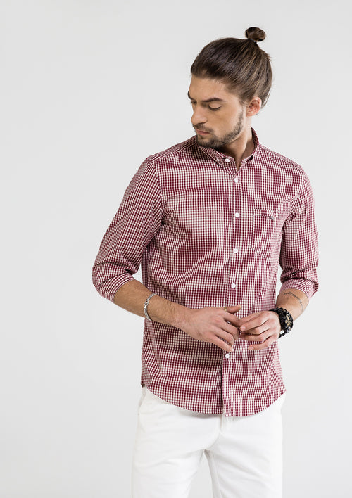 Classic 3 Quarter Checkered Shirt - Red