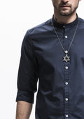 Band Collar Long Sleeve Shirt - Navy