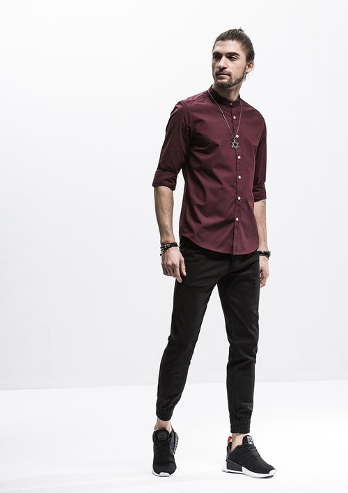 Band Collar Long Sleeve Shirt - Red