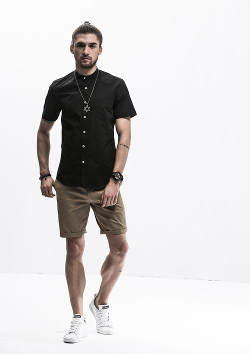 Band Collar Short Sleeve Shirt - Black