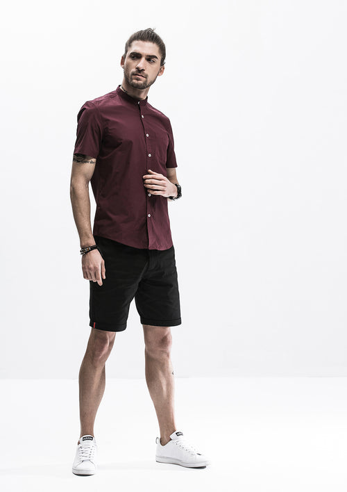 Band Collar Short Sleeve Shirt - Red