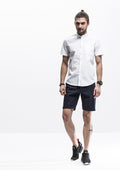 Band Collar Short Sleeve Shirt - White