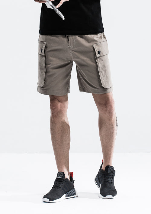 Cargo Pockets Drawstring Shorts - Khaki