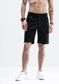 Front Tab Detail Shorts - Black