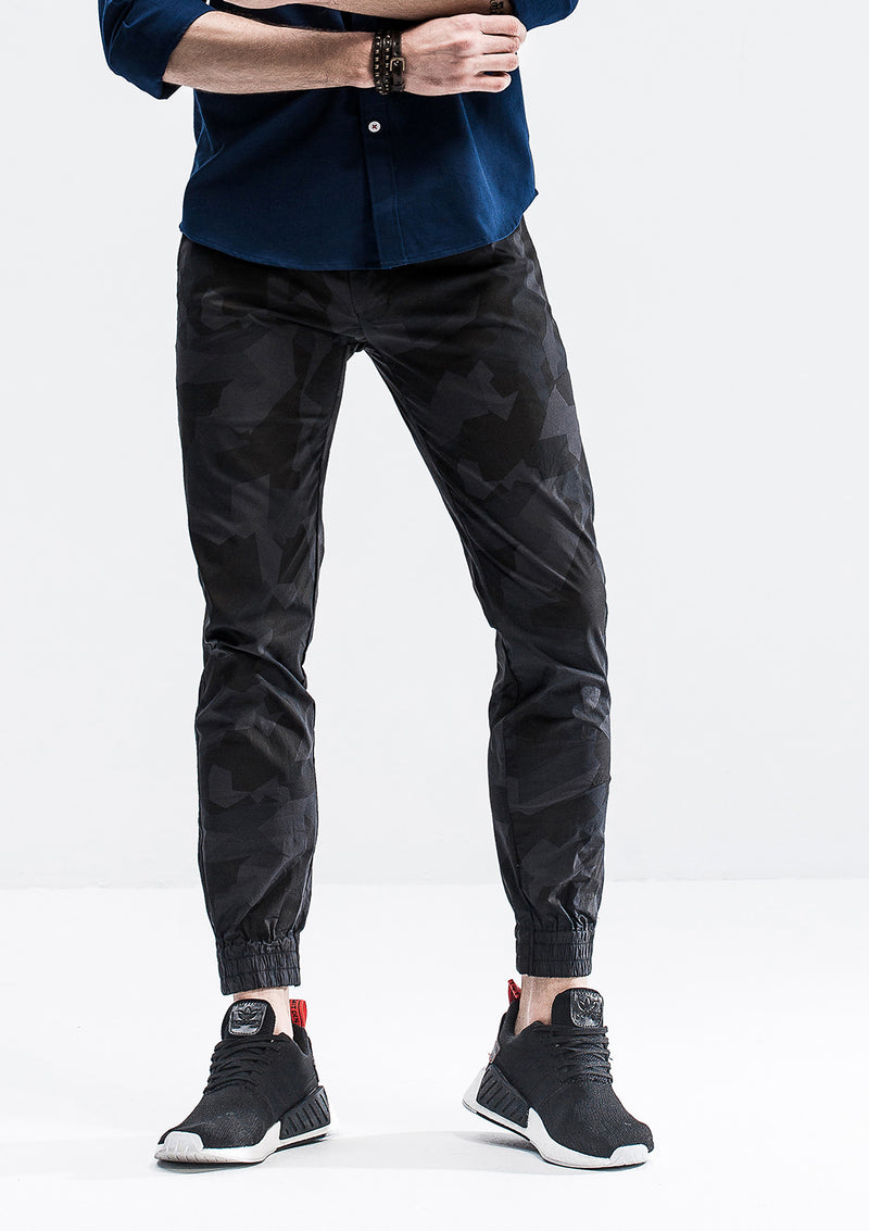 Geometric Camo Jogger Pants - Shadow Black