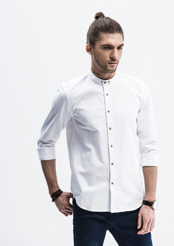 Grosgrain band collar long sleeve shirt white explorer for Long sleeve t shirts with collar