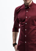 Pocket Long Sleeve Shirt - Red