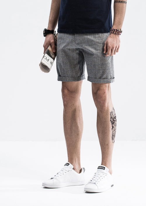 Textured Checkered Shorts - Black