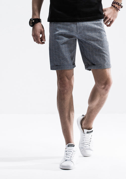 Textured Checkered Shorts - Blue