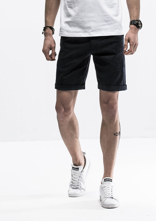 Textured Lined Shorts - Black