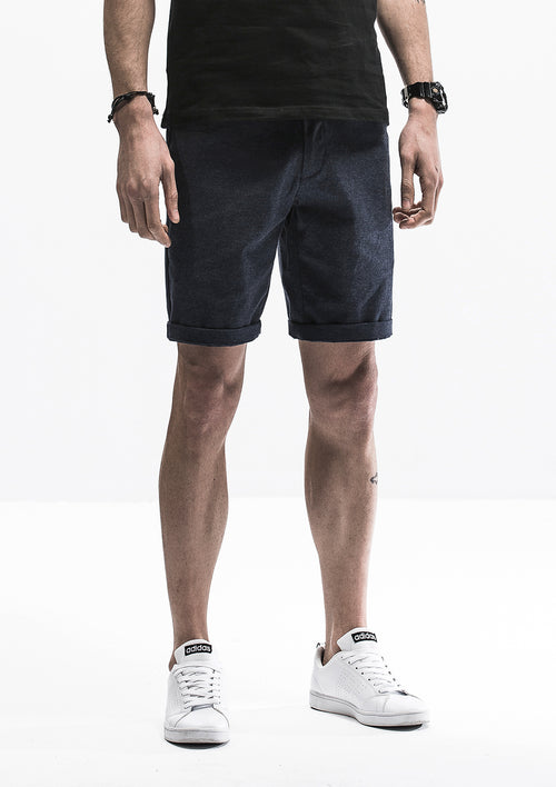 Textured Lined Shorts - Dark Blue