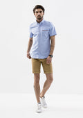 Edward Grosgrain Detailed Short Sleeve Shirt - Blue