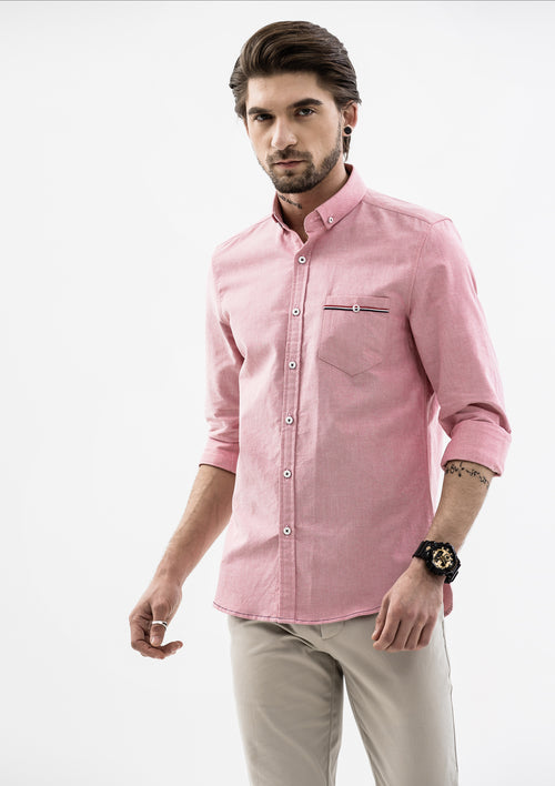 Edward Grosgrain Detailed Long Sleeve Shirt - Red