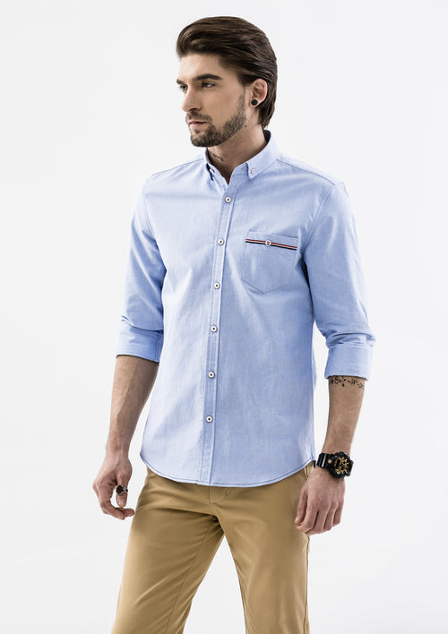 Edward Grosgrain Detailed Long Sleeve Shirt - Blue
