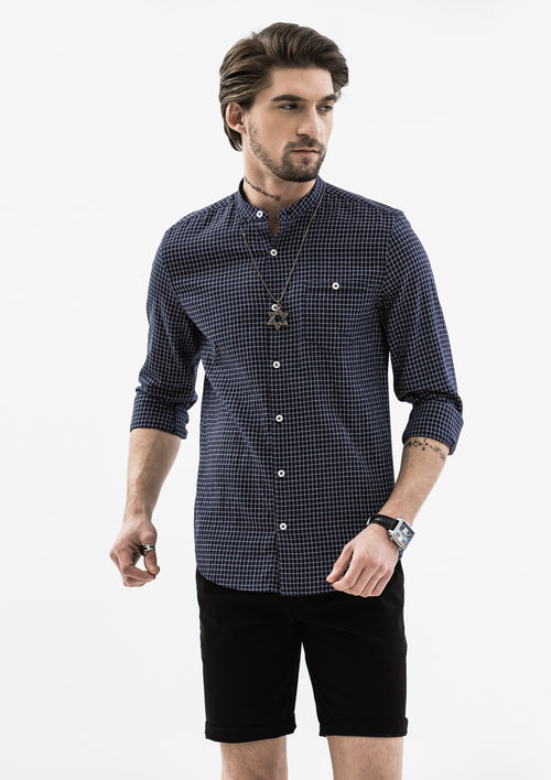 Checkered Mandarin Collar Long Sleeve Shirt - Blue