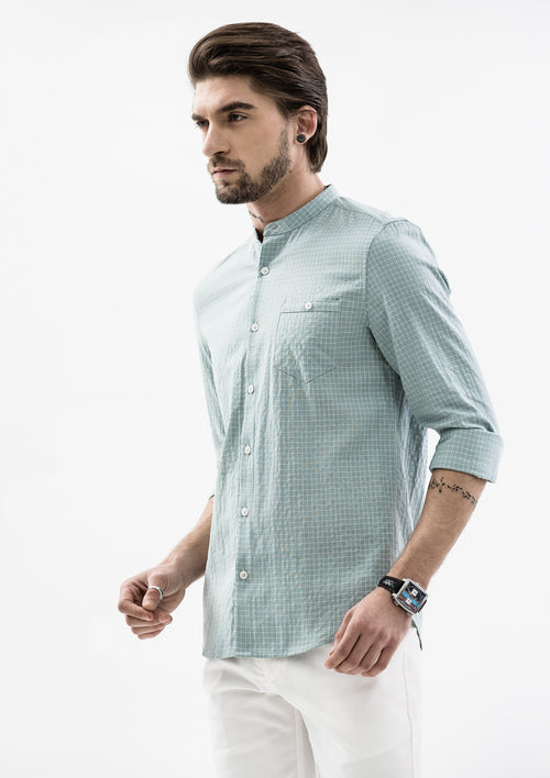 Checkered Mandarin Collar Long Sleeve Shirt - Green