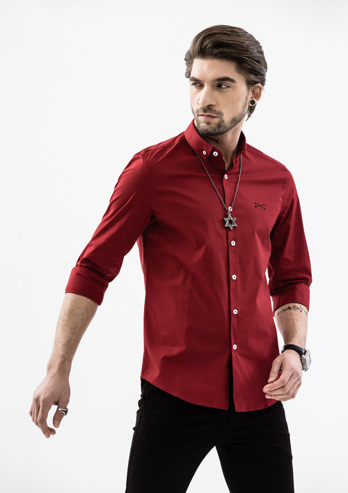 Explorer Collared Long Sleeve Shirt - Red