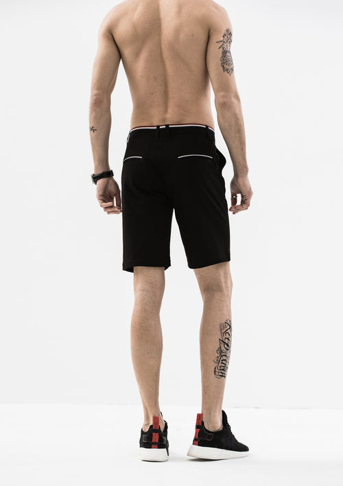 Striped Grosgrain Shorts - Black