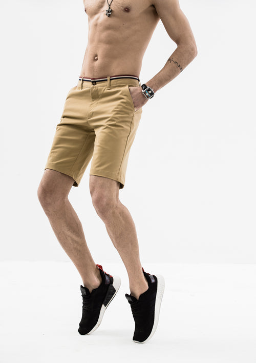 Striped Grosgrain Shorts - Khaki