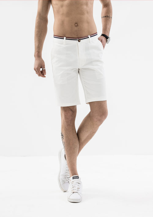 Striped Grosgrain Shorts - White