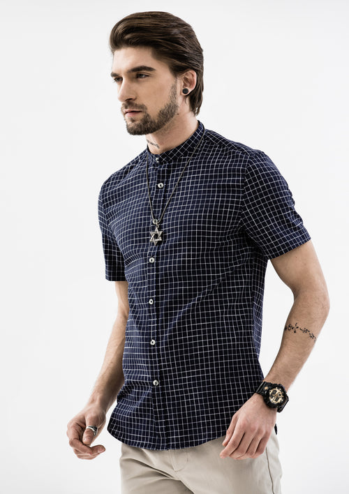 Windowpane Band Collar Short Sleeve Shirt - Blue