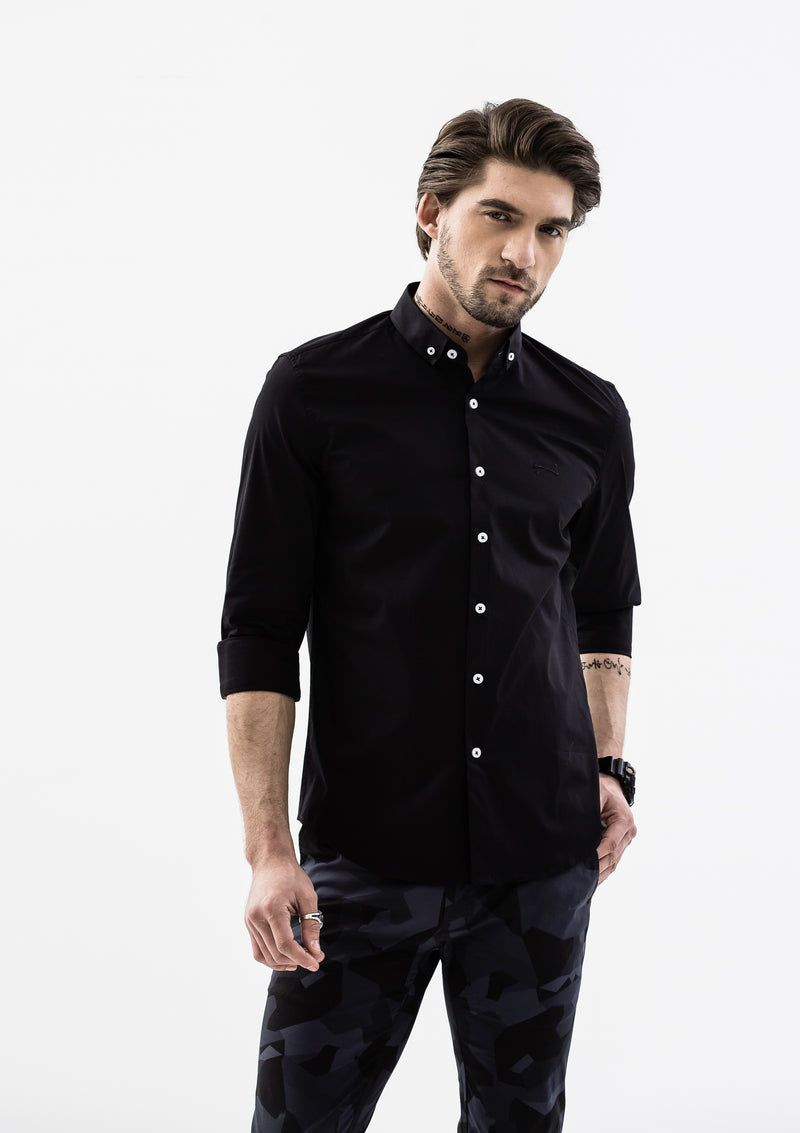Explorer Collared Long Sleeve Shirt - Black