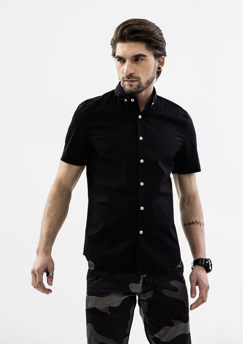 Explorer Collared Short Sleeve Shirt - Black