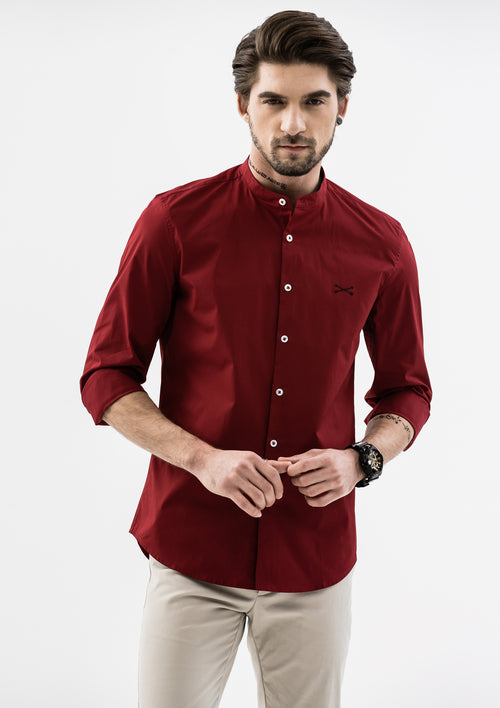 Explorer Mandarin Collar Long Sleeve Shirt - Red