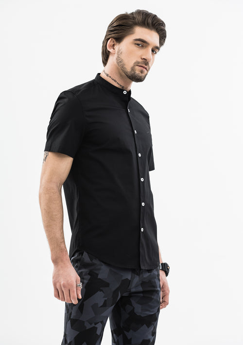 Explorer Mandarin Collar Short Sleeve Shirt - Black