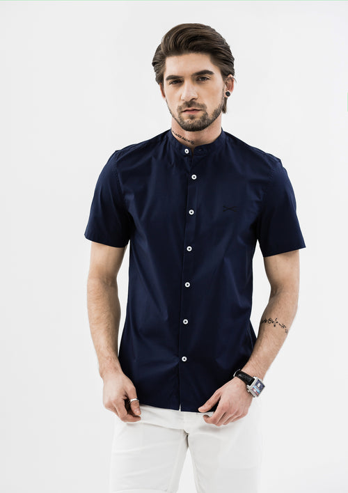 Explorer Mandarin Collar Short Sleeve Shirt - Blue