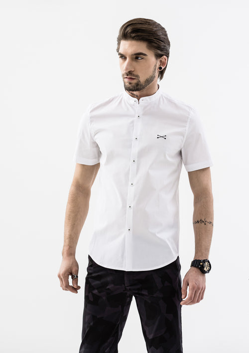 Explorer Mandarin Collar Short Sleeve Shirt - White