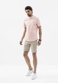 Explorer Mandarin Collar Short Sleeve Shirt - Pink