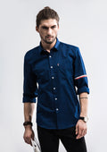Armband Trim Stripe Long Sleeve Shirt - Navy