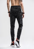Camo Waist Drawstring Jogger Pants - Shadow Black
