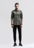 Jungle Camo Zipband Long Sleeve Shirt - Gray