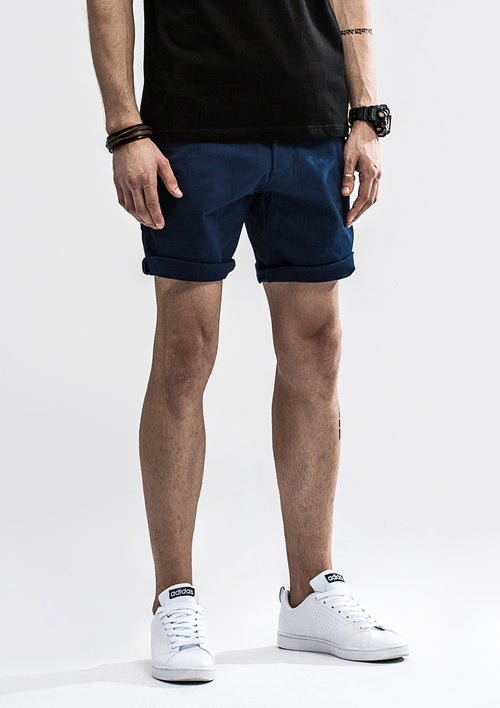 Zipper Back Shorts - Navy