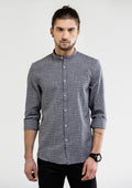 Gentleman Fine Check Long Sleeve Shirt - Gray